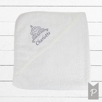Personalised Hooded Baby Towel with Embroidered Tiara