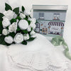 Hand Tied Baby Clothes Bouquet With Baby Blanket, White