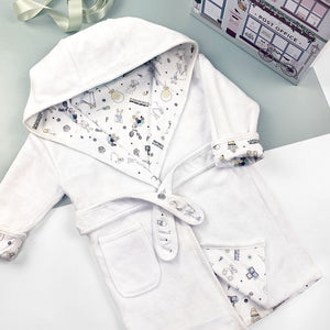 Little Love Sleepy Time Hamper, Blue - 0-12 Months with Printed Reversible Bathrobe