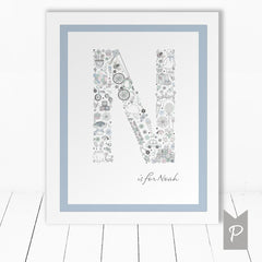 Personalised Framed Baby Boy Print
