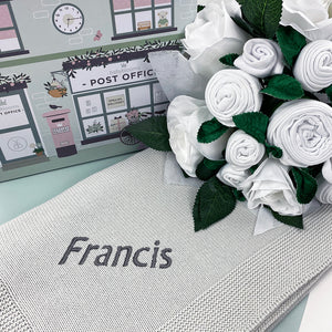 Luxury Rose Baby Clothes Bouquet and Personalised Baby Blanket, Grey