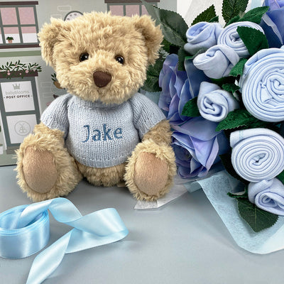 Luxury Rose Baby Clothes Bouquet and Personalised Teddy Bear, Blue