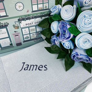 Luxury Rose Baby Clothes Bouquet and Personalised Baby Blanket, Blue