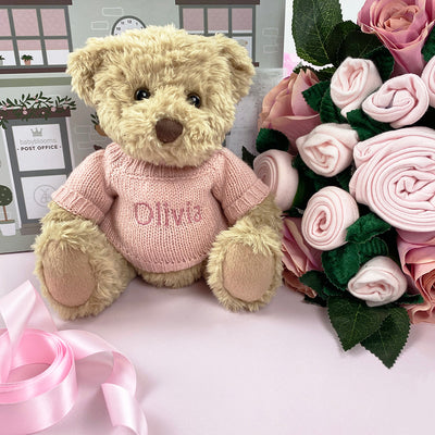 Luxury Rose Baby Clothes Bouquet and Personalised Teddy Bear, Pink