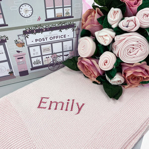 Luxury Rose Baby Clothes Bouquet and Personalised Baby Blanket, Pink