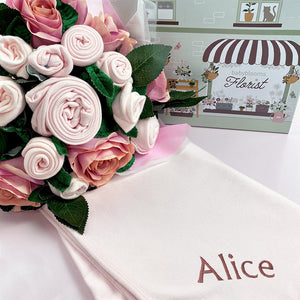 Luxury Rose Baby Clothes Bouquet and Personalised Snuggle Wrap, Pink