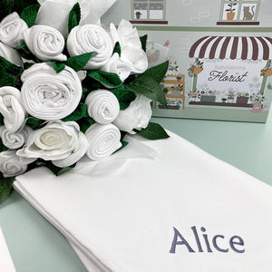 Luxury Rose Baby Clothes Bouquet and Personalised Snuggle Wrap, White