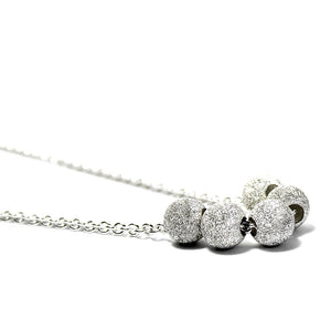 Mummy Silver Sparkle Beaded Necklace
