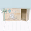 Little Bunny Personalised Wooden Keepsake Box, Blue