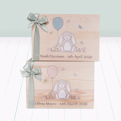 Little Bunny Personalised Wooden Keepsake Box, Pink