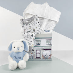 Little Love Bath and Bedtime Hamper, Blue - 1-2 Years with White Personalised Bathrobe