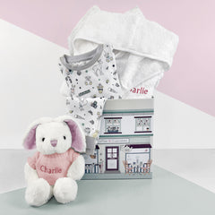 Little Love Bath and Bedtime Hamper, Pink - 1-2 Years with White Personalised Bathrobe