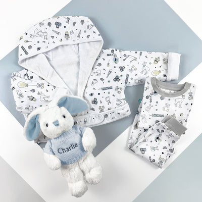 Little Love Bath and Bedtime Hamper, Blue - 6-12 Months with Printed Bathrobe