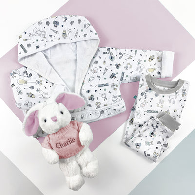 Little Love Bath and Bedtime Hamper, Pink - 6-12 Months with Printed Bathrobe