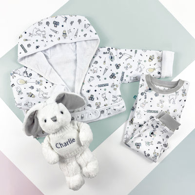 Little Love Bath and Bedtime Hamper, Grey - 6-12 Months with Printed Bathrobe