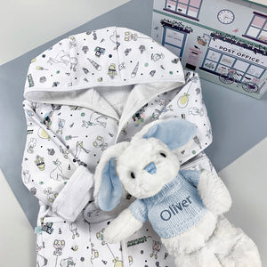 Little Love Bunny and Bathrobe Hamper, Blue - 0-12 Months with Reversible Printed Bathrobe