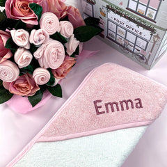 Luxury Rose Baby Clothes Bouquet and Personalised Baby Towel- Pink