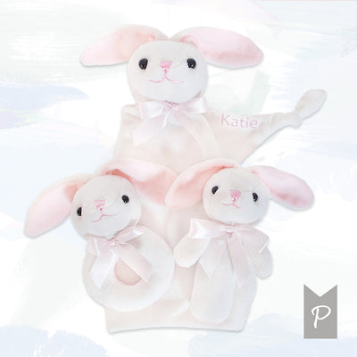Personalised Little Bunnies Three Tier Nappy Cake – Pink
