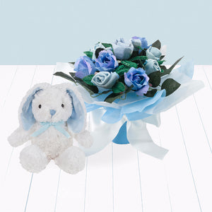 Hand Tied Posy with Little Blue Bunny