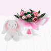 Hand Tied Posy with Little Pink Bunny