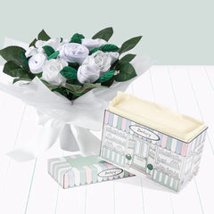Hand Tied Baby Clothes Bouquet with Boxed Pyjamas - White