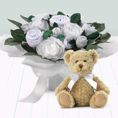 Luxury Bouquet and Teddy Bear, White