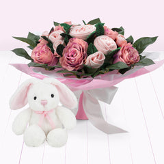 Luxury Bouquet and Bunny, Pink