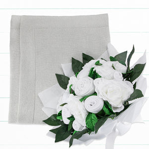 Luxury Bouquet and Baby Blanket, Grey