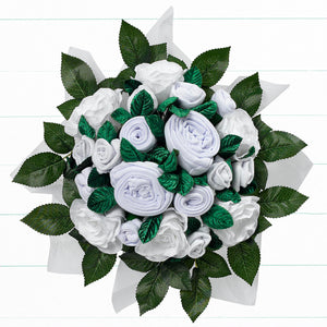 Twins Luxury Rose Baby Clothes Bouquet - White