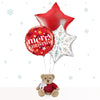 Christmas Balloon Bouquet with Personalised Bertie Bear Gift