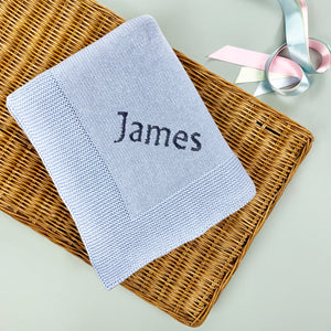 Personalised Knitted Baby Blanket, Blue
