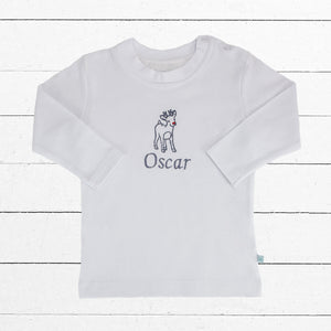 Baby's Personalised Reindeer T-Shirt Christmas Cracker