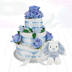 Three Tier Nappy Cake with Personalised Little Blue Bunny