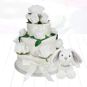 Three Tier Nappy Cake with Personalised Little Grey Bunny
