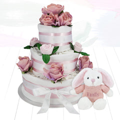 Three Tier Nappy Cake with Personalised Little Pink Bunny