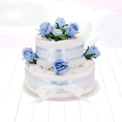 Two Tier Nappy Cake- Blue