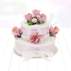 Two Tier Nappy Cake- Pink