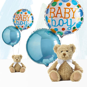 Welcome Baby Boy Balloons with Bertie Gift