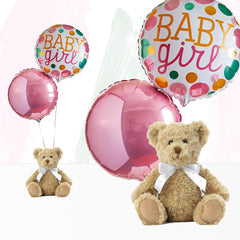 Welcome Baby Girl Balloons with Bertie Gift