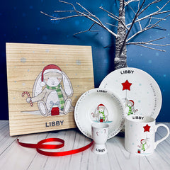Personalised Little Bunny Christmas Breakfast Set and Christmas Eve Box