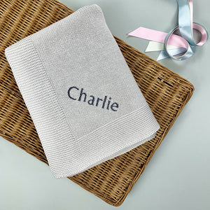 Personalised Knitted Baby Blanket, Grey