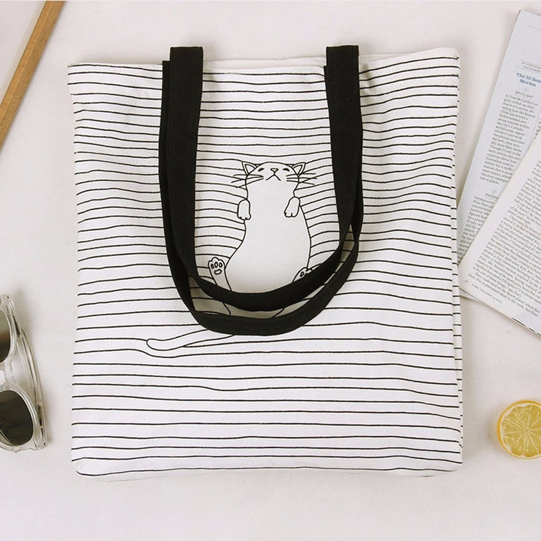 Napping Cat Canvas Handbag