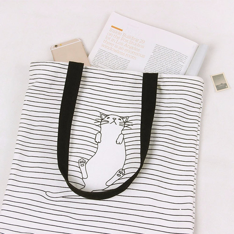 Napping Cat Canvas Tote