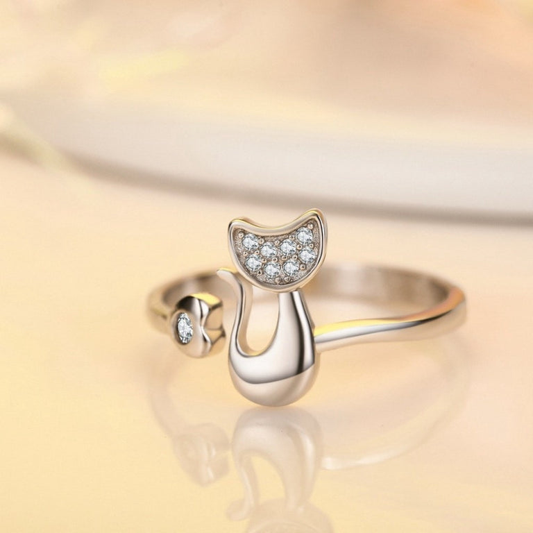 Cat Love Crystal Ring