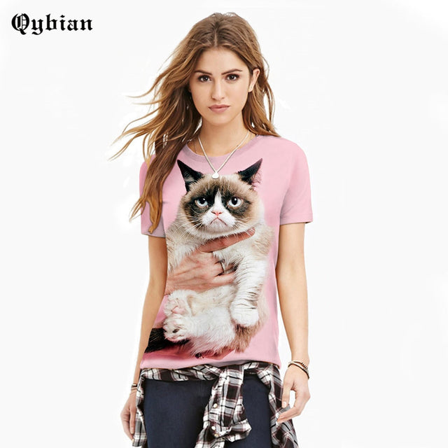 Qybian Brand 3D T Shirt Women Grumpy Cat Printed Short Sleeve T-Shirt Women's Hip Hop Men/women O-neck Tops Tees