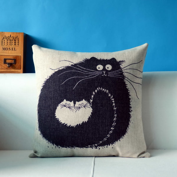 Silly Cat Linen Pillowcase