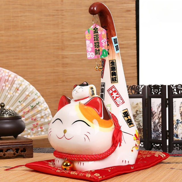 Japanese Lucky Cat Statue with Pillow
