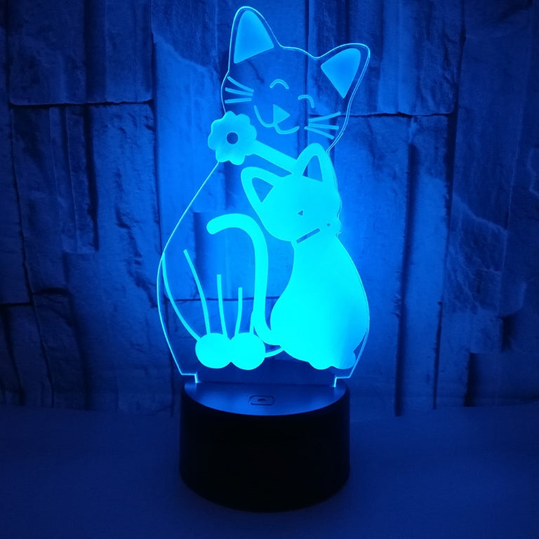 3D Cat LED Night Light With 7 Colors