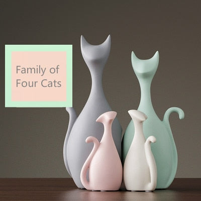 European Style Ceramic Deer Cat Figurines Macaron Color Cute Craft Desktop Ornaments Home Decoration Accessories for Living Room