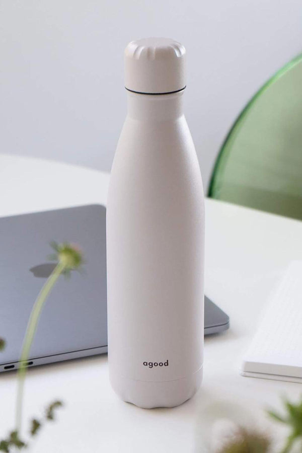 Slim Running Stainless Steel Water Bottle | Sustainable Water Bottle Snow White